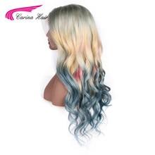 Carina Ombre 613 Vordere Spitze Perücke Jungfrau brasilianer Mixed Blau Rosa Gelb Blond Ombre Farbe Lange Wellenförmige Spitze Frontal Perücken