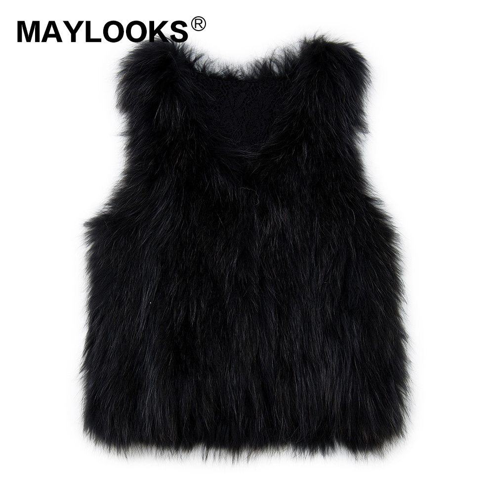 Knitted Real raccoon fur vest/ jacket /overcoat Woven lining Russian women's fashion winter warm genuine fur vests ourwear CS129