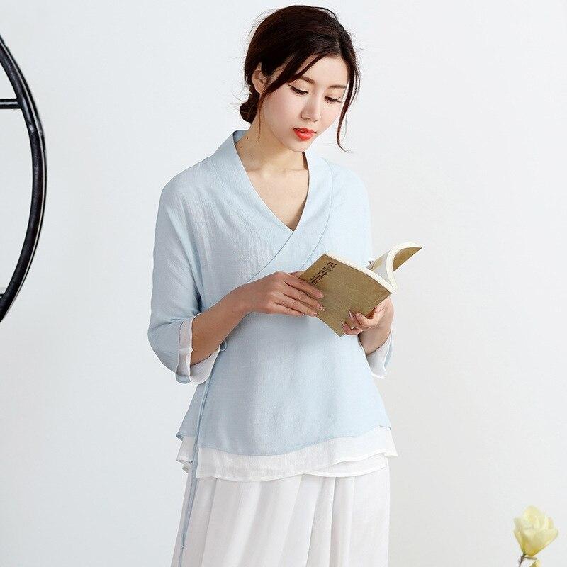 Veste élégante chinoise vêtements dentelle Vintage femmes demi manches robe chemise Double Zen thé Service
