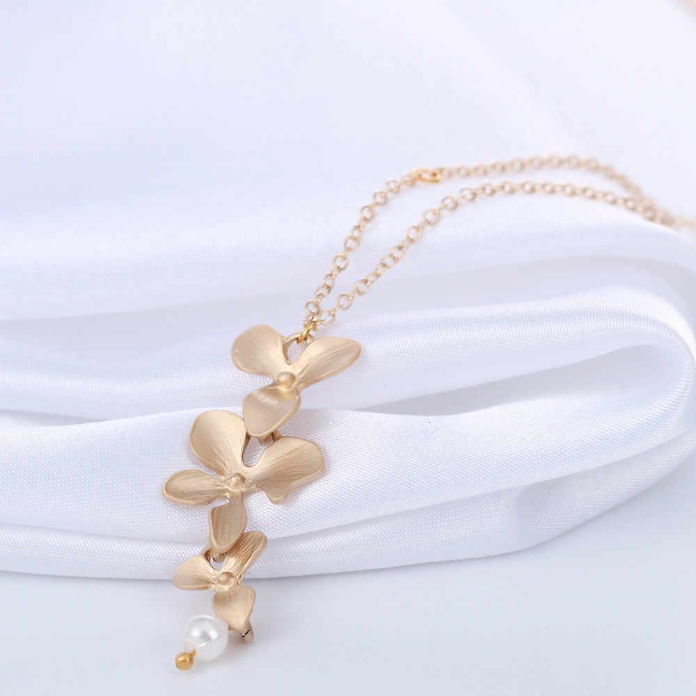 Cxwind Мода Орхидея цветок кулон бохо цветок ожерелье Шарм ювелирные изделия для женщин вечернее платье аксессуары подарок