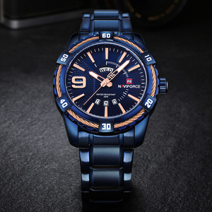 Image 5 - NAVIFORCE Mens Watch Blue Dial Stainless Steel Water Resistant Man Watches Luxury Business Analog Quartz Mens Watches Fashion