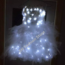 S001 LED light ballroom singer dancing women costumes/with light dress catwalk bra stage bar party stage sexy wears dj