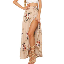 Sexy Lady Vintage Boho Summer Floral Print Women Casual High Waist Split Long Swing Beach Skirt