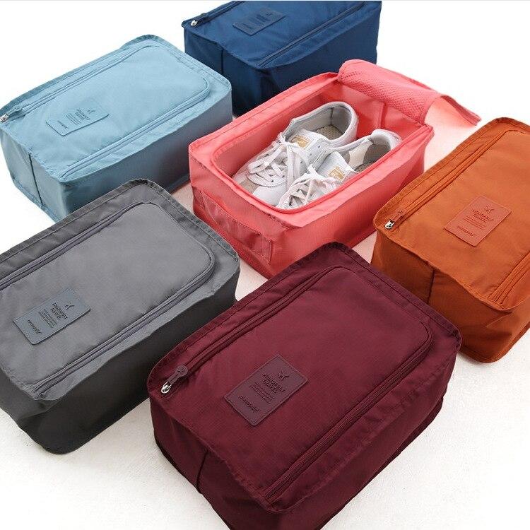 Convenient Travel Storage Bag Nylon 6 Colors Double Layer Portable Organizer Bags Shoe Sorting Pouch Multifunction