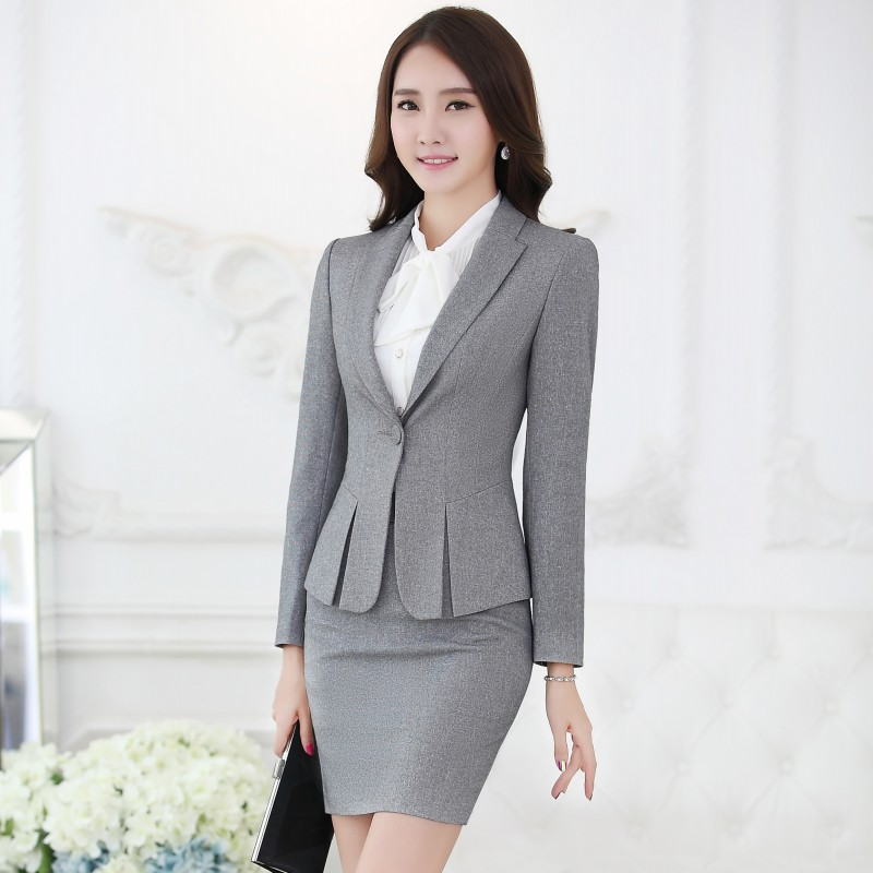 Formal Black Blazer Women Business Suits With Skirt And Top Sets