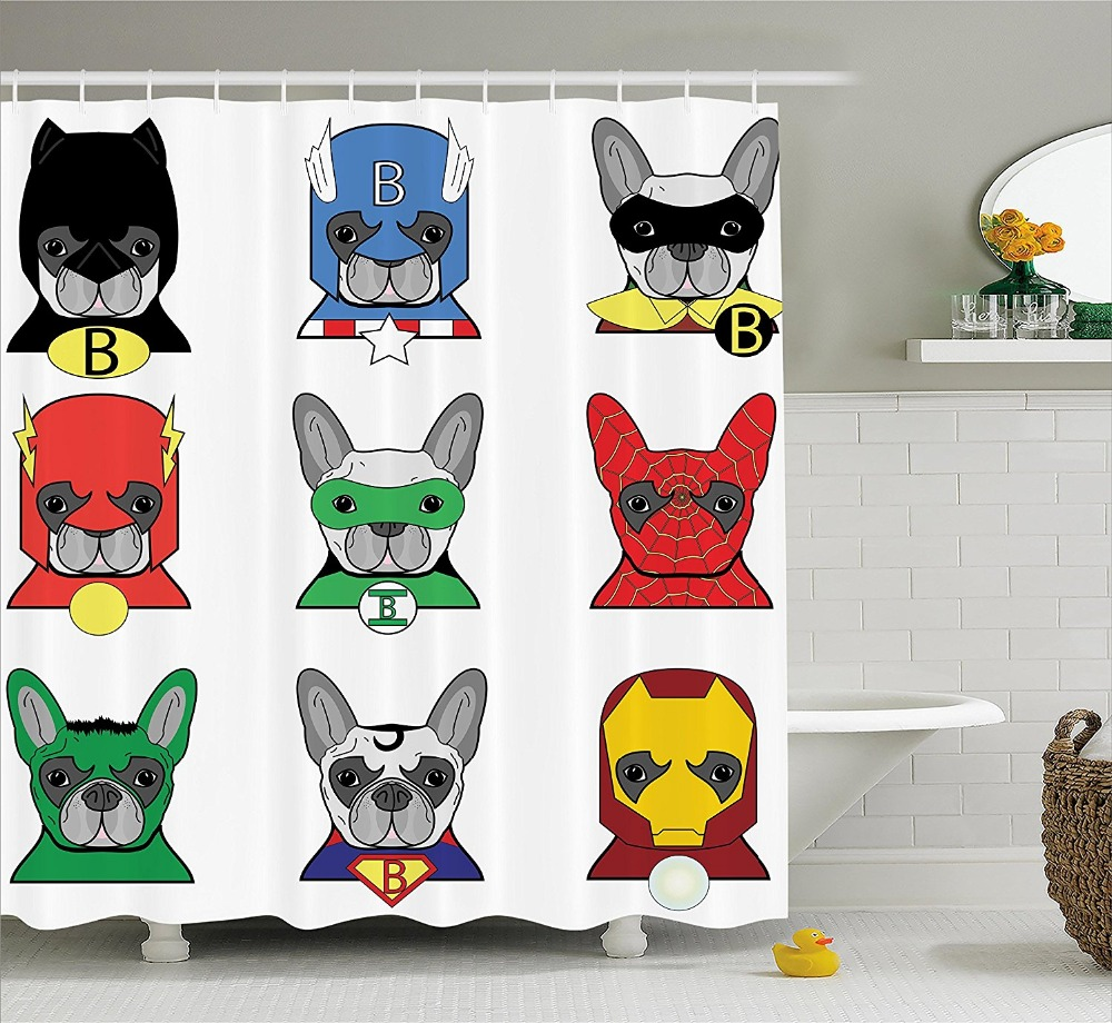 Batman shower curtain - Multi Color Optional Shower Curtain Bulldog Superheroes Fun Cartoon Puppies Dogs With Masks Painting Polyester Fabric Curtain