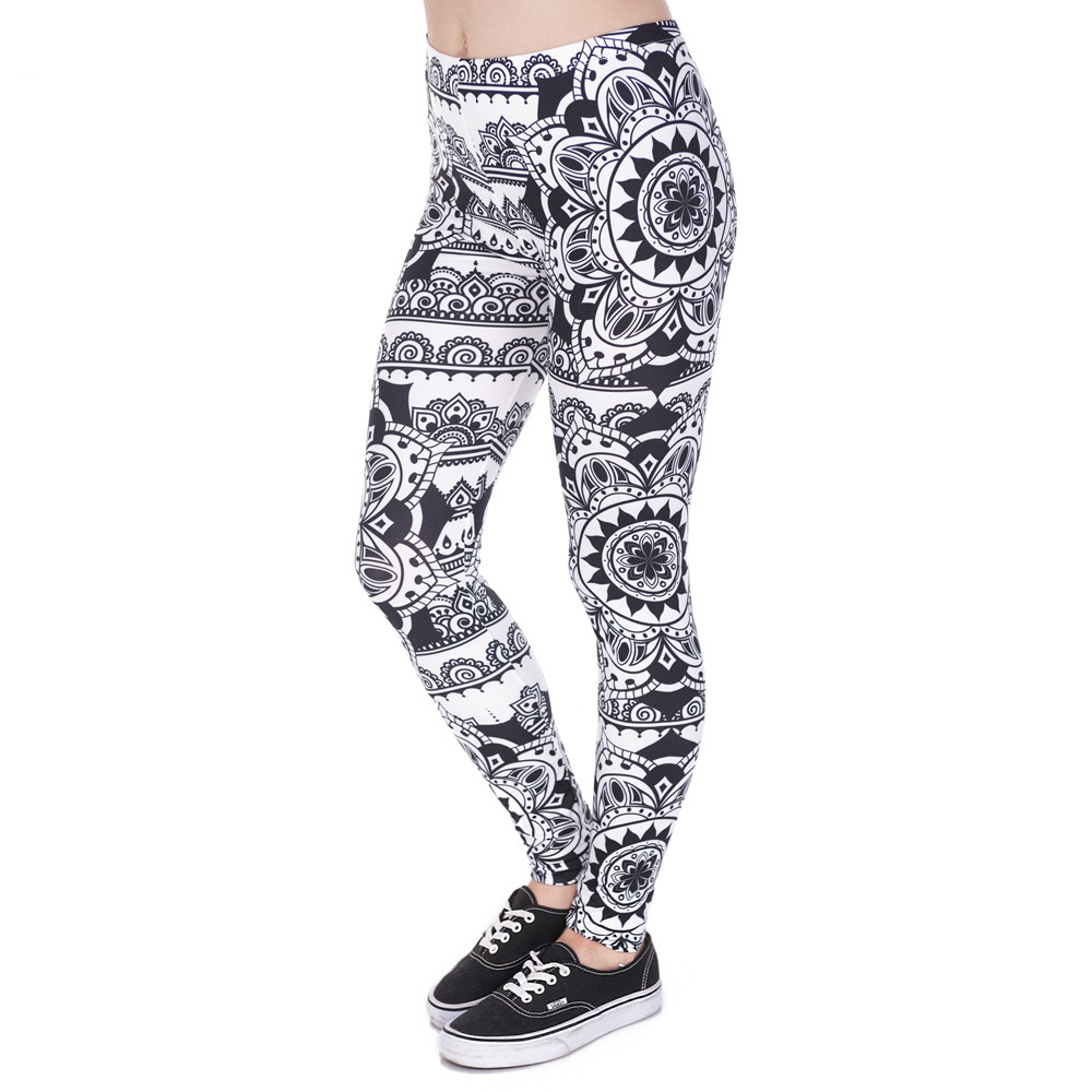Women Legins Mandala Black Printing Legging Woman Fashion High Waist Leggings