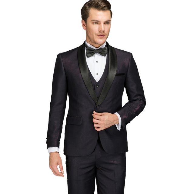 Wedding Suits for Men 2018 Shiny Latest Coat Pant Designer Purple ...