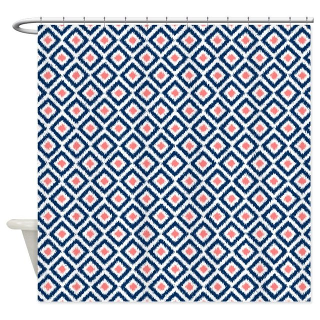 Navy Blue Coral Diamonds Ikat Decorative Fabric Shower Curtain For The Bathroom With 12 Hooks