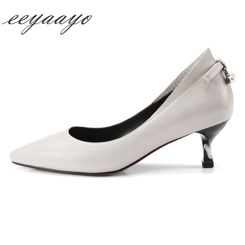 Genuine leather spring and summer women pumps high heel pointed toe cow leather butterfly-knot elegent office lady black shoes
