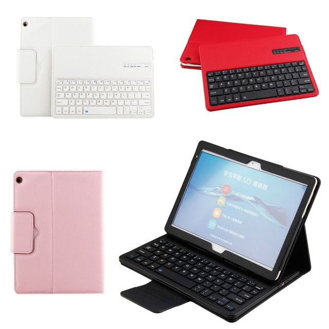 half off a8d2b 86200 US $32.14 25% OFF|Detachable Wireless Bluetooth 3.0 Keyboard Flip Stand  Leather Cover Case For Huawei MediaPad M3 Lite 10 BAH W09 BAH AL00 10.1