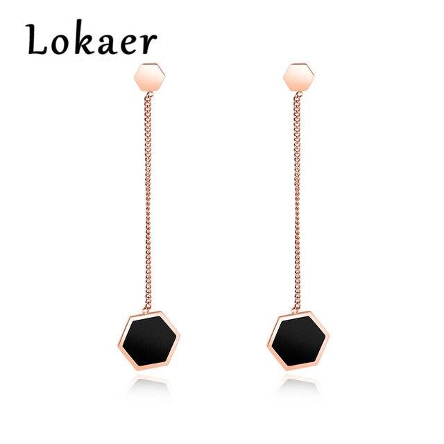 Lokaer Simple Geometric Black Tassel Long Drop Earrings Titanium