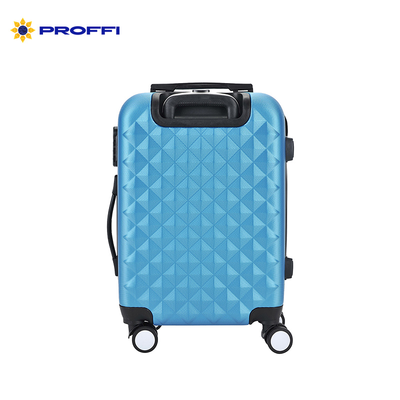 Bright blue suitcase PROFFI TRAVEL PH8368 darkblue M medium plastic handle with combination lock on wheels on wheels