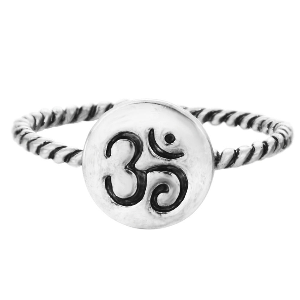 Kinitial 1Pc Silver Om Ring Yoga Meditation Ring Stackable Rings Women Eco Friendly Om Ohm Symbol Yoga Sanskrit Band Ring