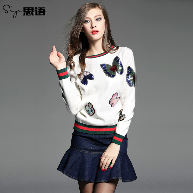 2017 Women sweater new Europe and the United States Sequin embroidery Butterfly Rib knitting Hooded long-sleeved sweater women