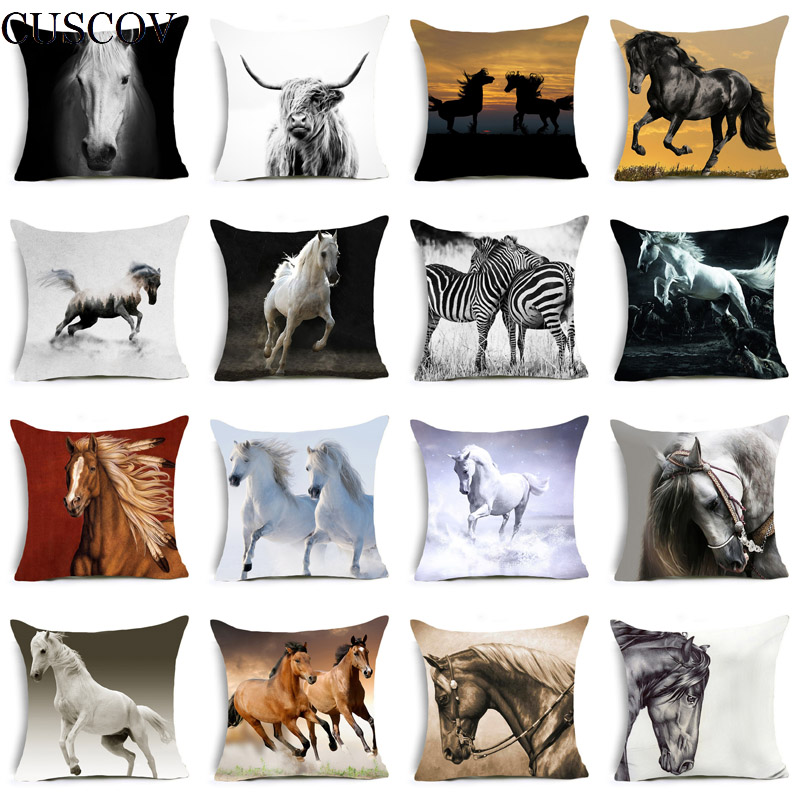 Foreign Trade Selling Polyester Printing Animal Horse Pillowcase Fashion Home Sofa Cushion Cover Comfortable Seat Pillow Covers