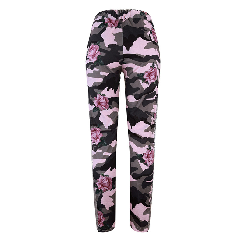Fashion Womens Pants 2018 New Arrival Comfortable Sequins Camouflage Print Bandage Patchwork Mid Waist Long Pants Trousers F#J12 (20)