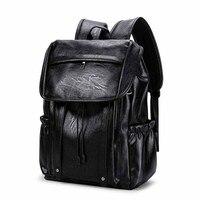 PU Large Capacity Mens Backpacks For Casual Men Daypacks 2019 New Leather Travle Backpacks waterproof Simple Travel Backpacks