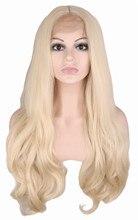 Qqxcaiw ручной работы естественно волосяного покрова бесклеевого кружева спереди парик для женщин Блондинка Тело Волна термостойкие волокна синтетические волосы парики