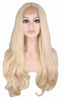 QQXCAIW Handmade Natural Hairline Glueless Lace Front Wig For Women Blonde Body Wave Heat Resistant Fiber