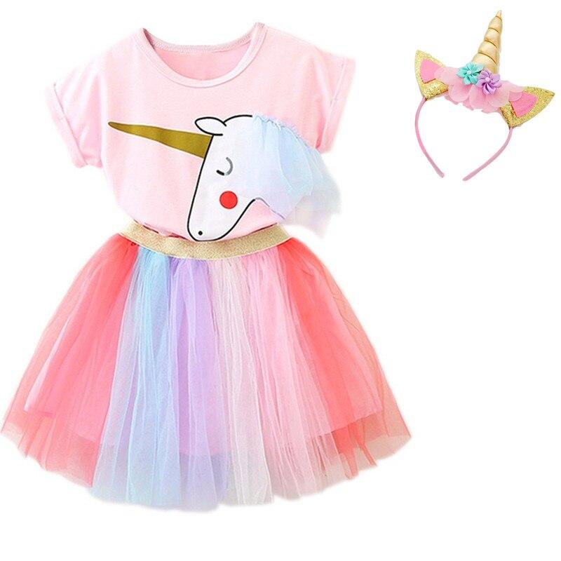 73fe0120ee7fa Kids Unicorn Dress for Girls Summer Flower Baby Girl Princess ...