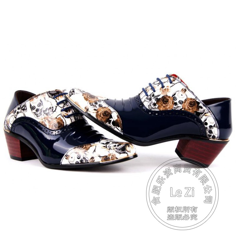 ФОТО Wrinkle Printing Leather Mens Shoes Sales Puppy Heel Pu Designer Italian Mens Shoes Brands Saddle Shoe Hit Color Shoes Oxford