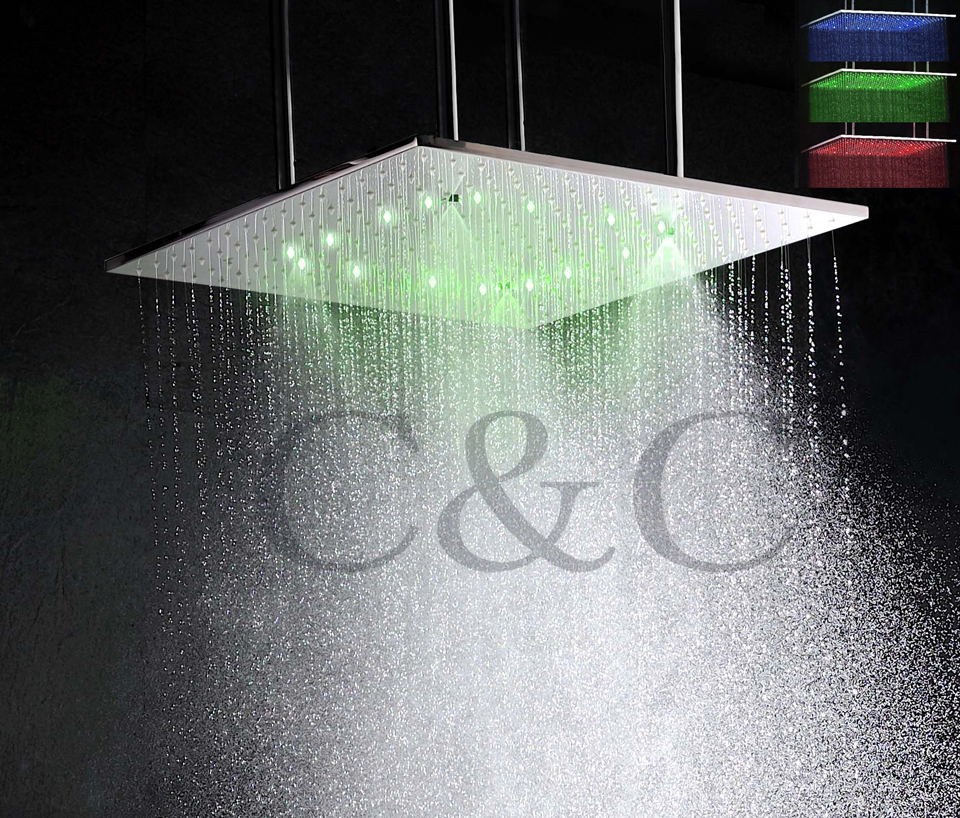 20 Inch Ceiling Mounted Brushed Mist And Rainfall LED Temperature Sensitive 3 Colors Bathroom Shower Head With Arms L-20WL