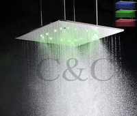 20 Inch Ceiling Mounted Brushed Mist And Rainfall LED Temperature Sensitive 3 Colors Bathroom Shower Head With Arms L 20WL