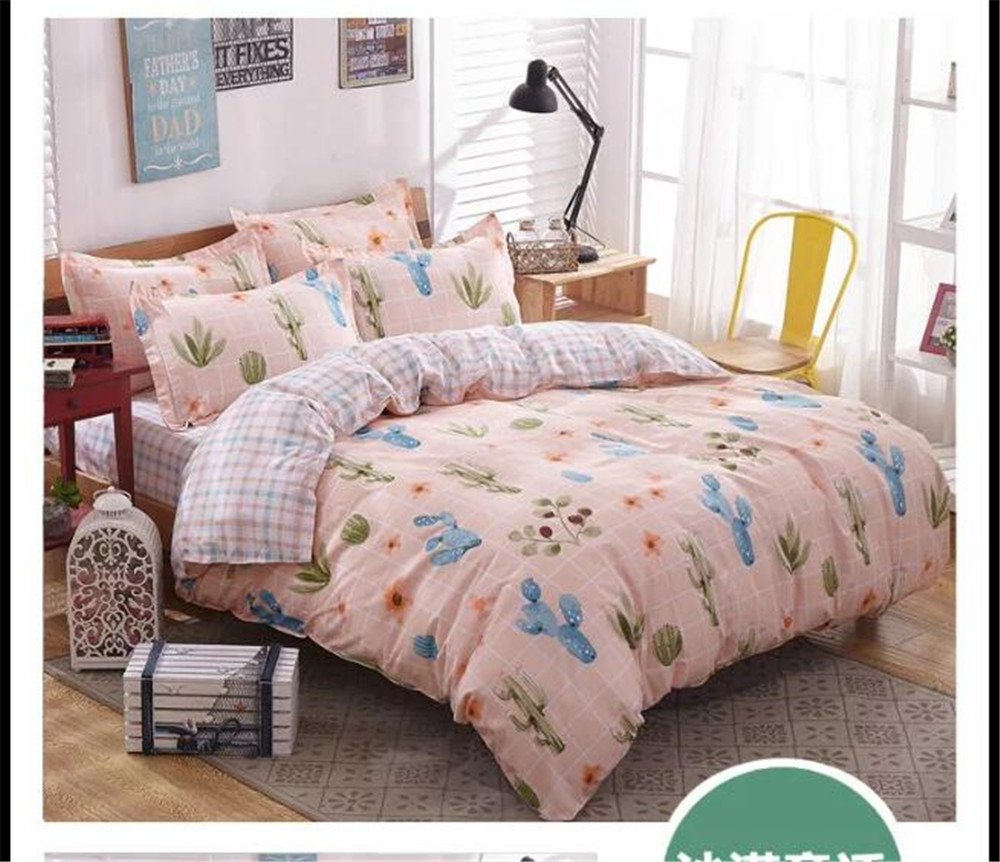 cactus plant bedding bed sets queen king twin kids 45 pcs pink plaid quilt