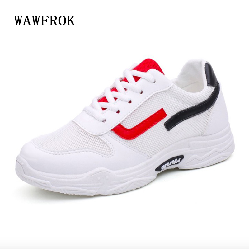 WAWFROK Women Casual Shoes Summer 2018 Spring Shoes Woman Fashion Breathable Mesh Lace-Up Women Sneakers Ultralight