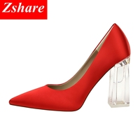 Transparent crystal heel high heels pumps women shoes sexy pointed toe Square heels 12 colors ladies wedding shoes size 34 43