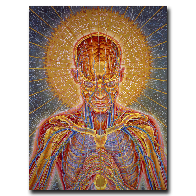 Trippy Alex Grey Art Silk Fabric Psychedelic Poster Print Wall Home 12×16 18×24 24×32 Inches