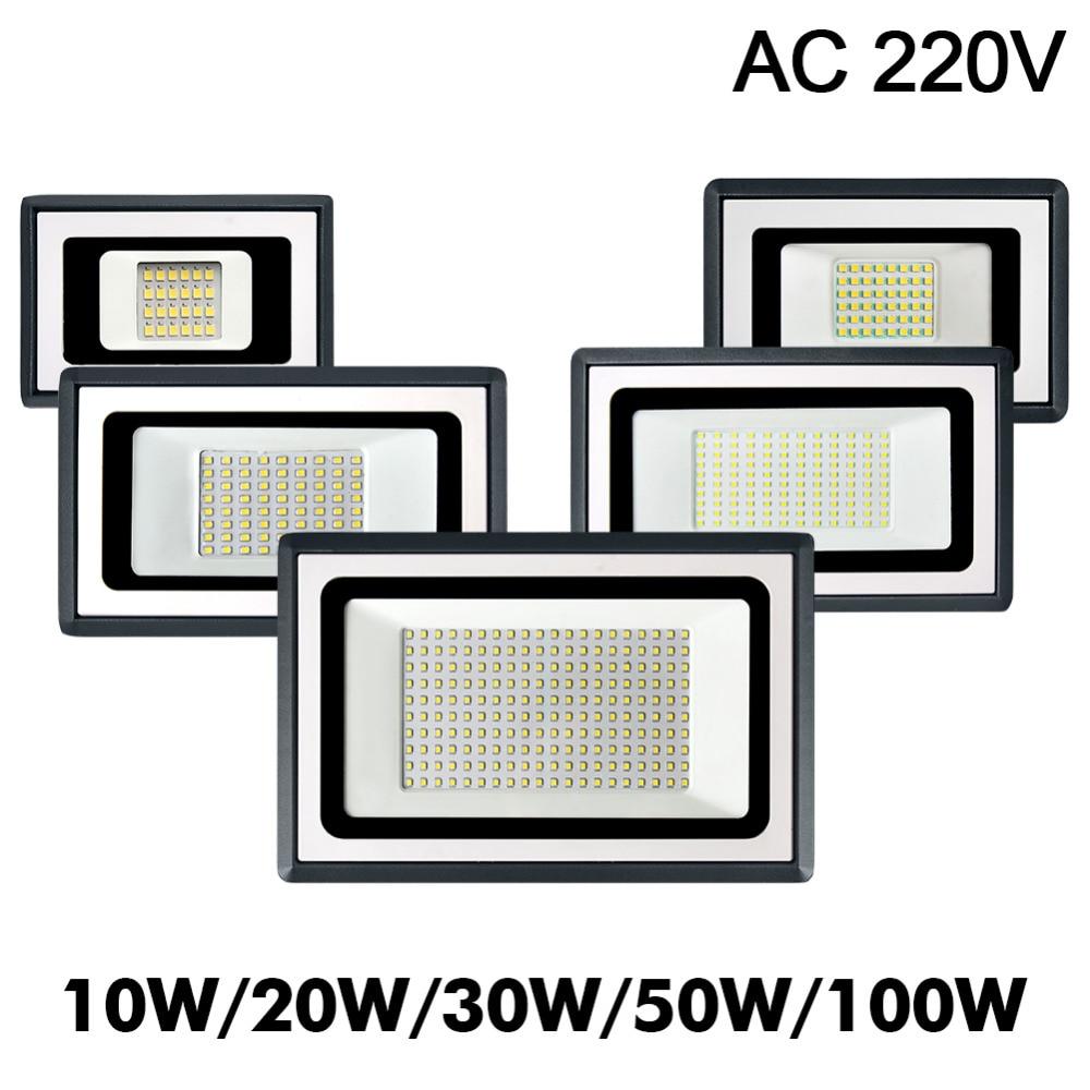 LED Flood Light 10W 20W 30W 50W 100W 220V Floodlight LED Spotlight Outdoor Lighting Projector Reflector Wall Lamp Garden Square