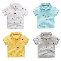 2017 Garçons Vêtements D'été Style Coton T-shirt Pour Garçon Polo Chemises Voitures Impression de Bande Dessinée Enfant T-shirt Minions Enfants Vêtements