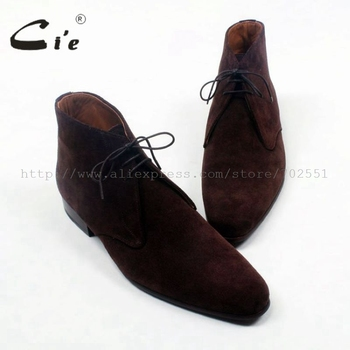 Cie round plain toe coffee suede lace-up ankle boot calf leather men boot bespoke leather boot 100%genuine calf leather boot A83 фото
