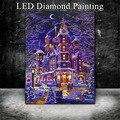 HUACAN 5D светодиодный свет алмазная живопись зимняя Алмазная вышивка с пейзажем распродажа полная круглая мозаика из буровых алмазов 30x40 см с ...