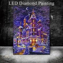 HUACAN 5D LED Light Diamond Schilderen Winter Landschap Diamant Borduurwerk Koop Volledige Ronde Boor Diamant Mozaïek 30x40cm met Frame