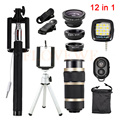 Phone Lentes 12in1 Kit Tripod Holder Clips Selfie Flash Fill Light Fish Eye Wide Angle Macro Lenses 8x Zoom Telephoto Lens