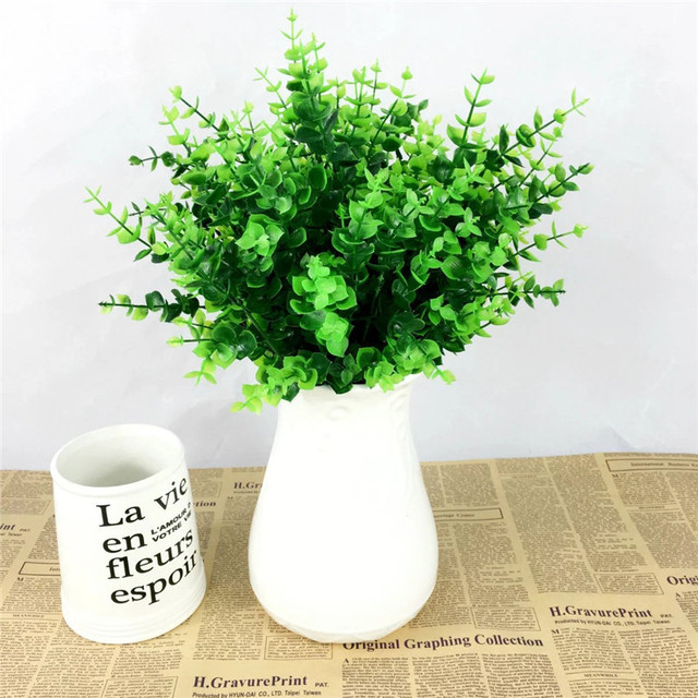 Bon 1 Fake Plant Green Leaves Potted Plant Flowers Office Wedding Room Home  Decor Plante Artificial Plants