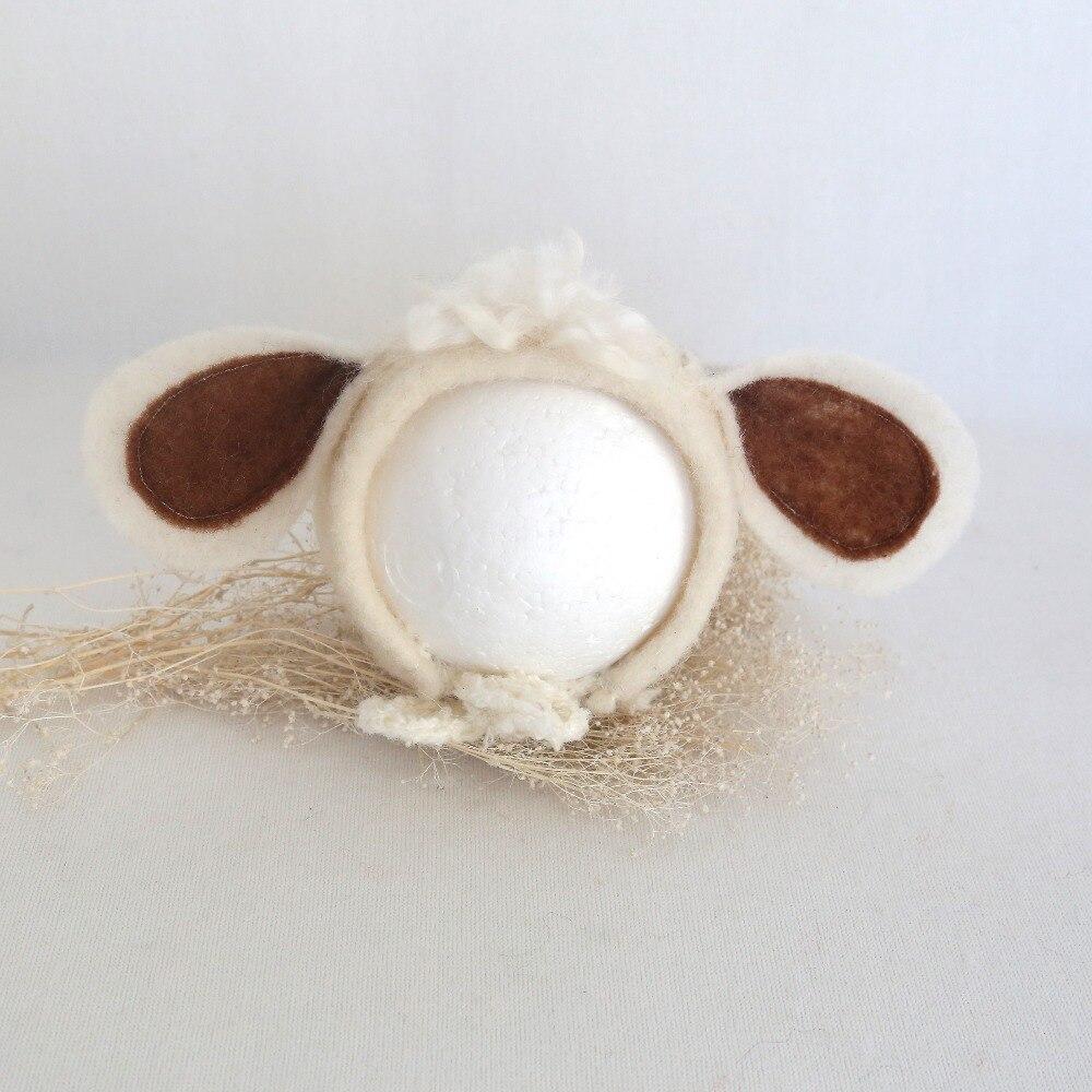 Chapeau de Photo en laine | Accessoires de photographie pour chapeau de mouton, Bonnet en feutre danimal à la main, chapeau pour Photo de nouveau-né