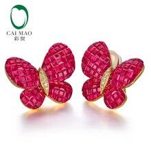 CAIMAO Fine Jewelry невидимое крепление 12.38ct натуральный рубин алмаз 18kt Au750 серьги из желтого золота английский замок