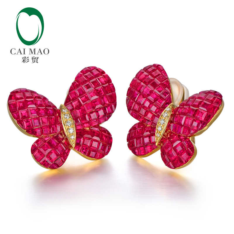 CAIMAO Fine Jewelry Invisible Setting 12.38ct Natural Ruby Diamond 18kt Au750 Yellow Gold Earrings English Lock