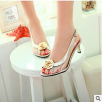 Lady S Hot Sell Flower Soft Comfortable Peep Toe Med Heels Thin Shoes Working Shoes In