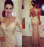 YNQNFS IED31 Sexy Sheer Back Bling Sequins One Shoulder Long Sleeves Evening Prom Dresses Wedding Party Gold
