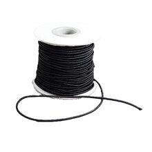Cordón redondo Elástico, con Exterior De Nylon y el Caucho En El Interior, negro, 2mm; 30 m/rollo