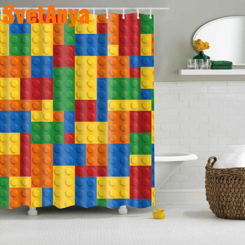Fashion Colorful Lego Blocks Shower Curtains Waterproof Bathroom Curtains Polyester 180x180cm Decoration With Hooks