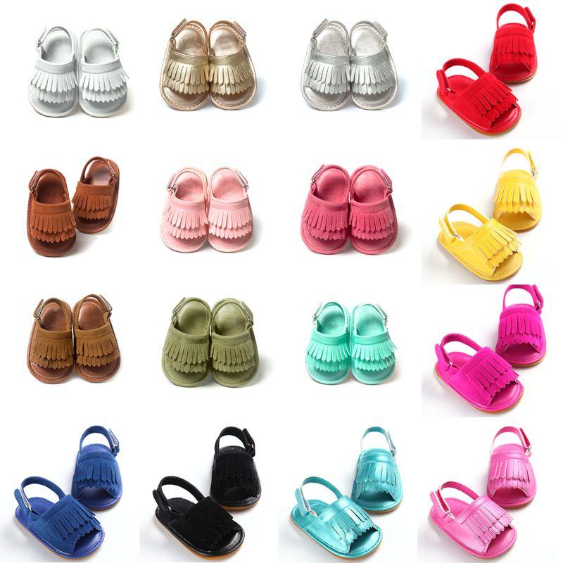 Sandalet e Foshnjës për Shitje Hot 2019 Vogël Vajzat Vajzat Vajzat Vajzat Sandalet Vogël PU Tusel Clogs Këpucët për Fëmijë të Lehta pa rrëshqitje 16 Ngjyrat