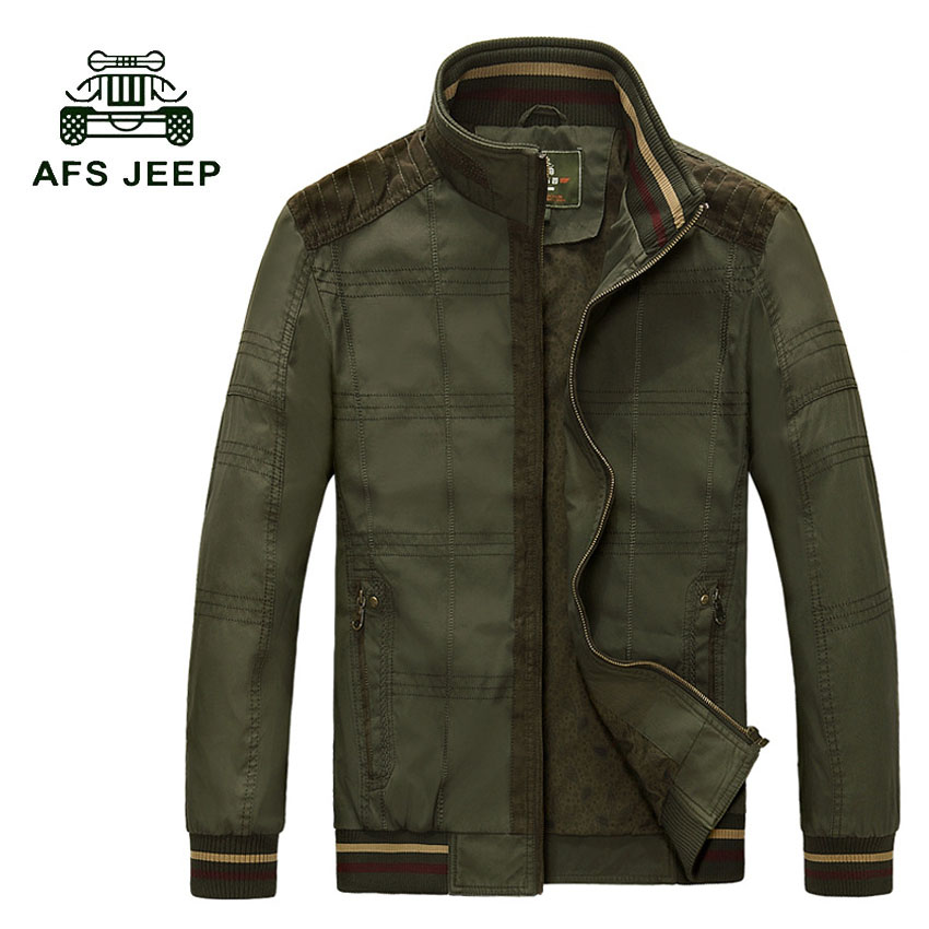 AFS JEEP Brand new men's jacket autumn Slim Cotton casual male jackets Plus size M-4XL Men Stand collar coats men clothing 135z afs jeep autumn jeans mens straight denim trousers loose plus size 42 cowboy jeans male man clothing men casual botton page 2