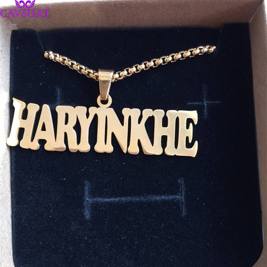 Punk Style Personalized Name Necklace Customized Big Nameplate Pendant Women Men Fashion Jewelry Handmade Birthday Gift BFF
