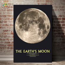The  Earth Moon Picture Wall Art Canvas Prints Frame Scroll Painting Poster Decorative Print Vintage
